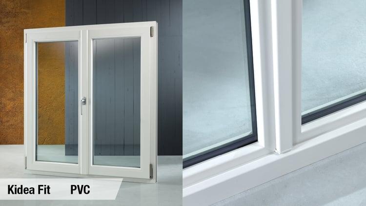 finestra a due ante PVC con incollaggio strutturale dell'anta
