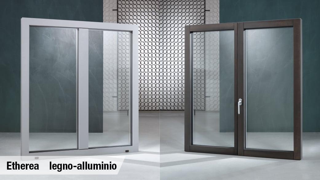 portafinestra in legno e alluminio tutto vetro